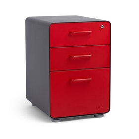 Charcoal + Red Stow 3-Drawer File Cabinet, Fully Loaded,Red,hi-res