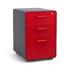 Charcoal + Red Stow 3-Drawer File Cabinet,Red,hi-res