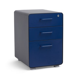 Charcoal + Navy Stow 3-Drawer File Cabinet, Fully Loaded,Navy,hi-res