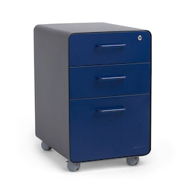 Charcoal + Navy Stow 3-Drawer File Cabinet, Rolling, Fully Loaded,Navy,hi-res