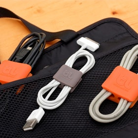 Medium Dark Gray/Orange Cable Clips, Set of 4,,hi-res