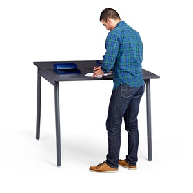 "Series A Standing Double Desk for 2, Dark Oak, 47"", Charcoal Legs,Dark Oak,hi-res"