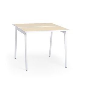 "Series A Standing Double Desk for 2, Light Oak, 47"", White Legs,Light Oak,hi-res"