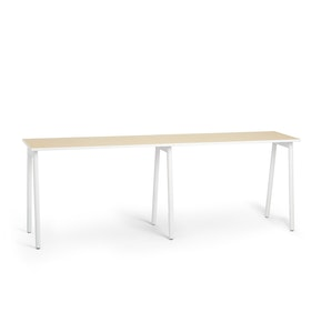 "Series A Standing Single Desk for 2, Light Oak, 57"", White Legs,Light Oak,hi-res"