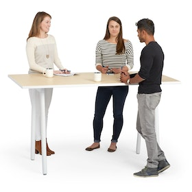 "Series A Standing Meeting Table, Light Oak, 72x36"", White Legs,Light Oak,hi-res"