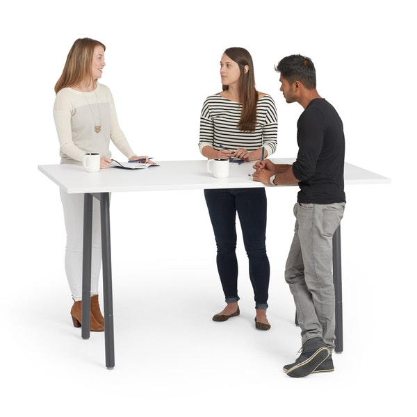 "Series A Standing Meeting Table, White, 72"" x 36"", Charcoal Legs,White,hi-res"