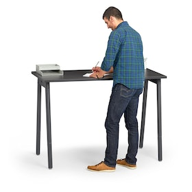 "Series A Standing Single Desk for 1, Dark Oak, 57"", Charcoal Legs,Dark Oak,hi-res"