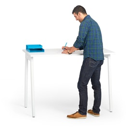"Series A Standing Single Desk for 1, White, 57"", White Legs,White,hi-res"
