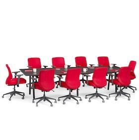 """Series A Conference Table, Dark Oak, 124"""" x 42"""", Charcoal Legs,Dark Oak,hi-res"""