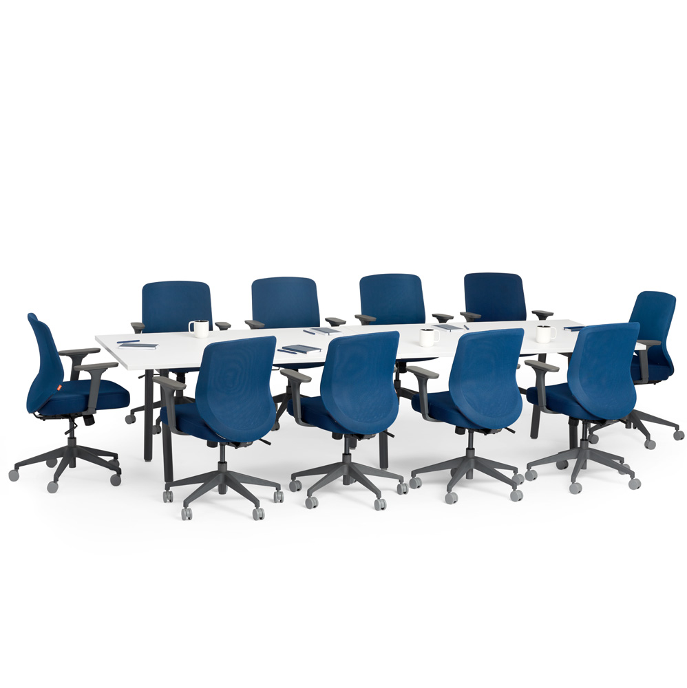 Series A Conference Table White 124 x 42 Charcoal Legs