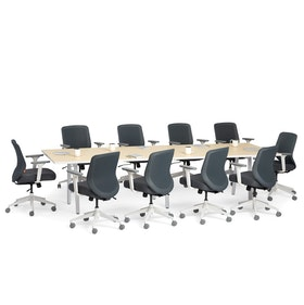 "Series A Conference Table, Light Oak, 124"" x 42"", White Legs,Light Oak,hi-res"