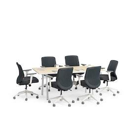 "Series A Conference Table, Light Oak, 72"" x 36"", White Legs,Light Oak,hi-res"