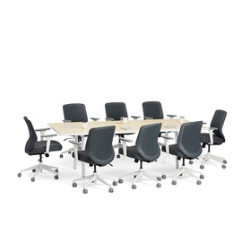 "Series A Conference Table, Light Oak, 96"" x 42"", White Legs,Light Oak,hi-res"
