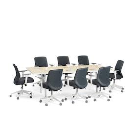 "Series A Conference Table, Light Oak, 96"" x 42"", White Legs,Light Oak,hi-res"