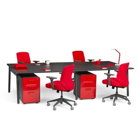 """Series A Double Desk Add On, Dark Oak, 57"""", Charcoal Legs,Dark Oak,hi-res"""