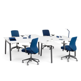 """Series A 2 Returns Add On for 57"""" White Double Desk, Charcoal Legs,White,hi-res"""