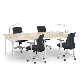 """Series A Double Desk Add On, Light Oak, 47"""", White Legs,Light Oak,hi-res"""