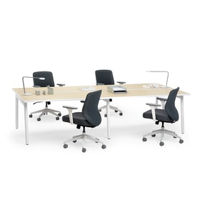 "Series A Double Desk Add On, Light Oak, 57"", White Legs,Light Oak,hi-res"