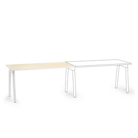 "Series A Single Desk Add On, Light Oak, 57"", White Legs,Light Oak,hi-res"