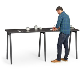 "Series A Standing Single Desk for 2, Dark Oak, 47"", Charcoal Legs,Dark Oak,hi-res"