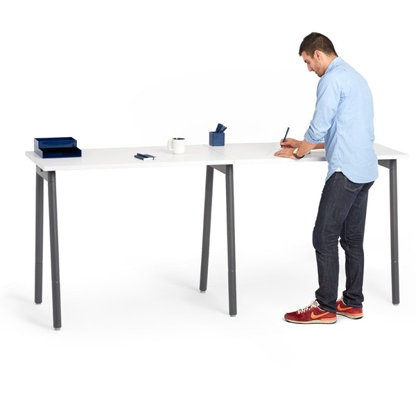 "Series A Standing Single Desk for 2, White, 47"", Charcoal Legs,White,hi-res"