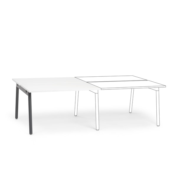 """Series A Double Desk Add On, White, 47"""", Charcoal Legs,White,hi-res"""