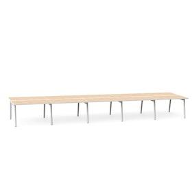 """Series A Double Desk for 10, Light Oak, 47"""", White Legs,Light Oak,hi-res"""