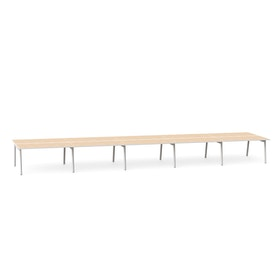 "Series A Double Desk for 10, Light Oak, 57"", White Legs,Light Oak,hi-res"