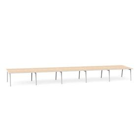 """Series A Double Desk for 10, Light Oak, 57"""", White Legs,Light Oak,hi-res"""