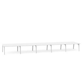 """Series A Double Desk for 10, White, 57"""", White Legs,White,hi-res"""