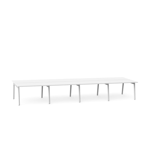 """Series A Double Desk for 8, White, 47"""", White Legs,White,hi-res"""