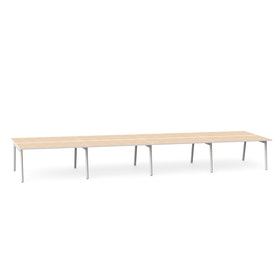 "Series A Double Desk for 8, Light Oak, 57"", White Legs,Light Oak,hi-res"