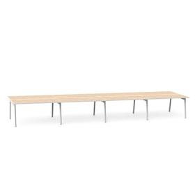 """Series A Double Desk for 8, Light Oak, 57"""", White Legs,Light Oak,hi-res"""