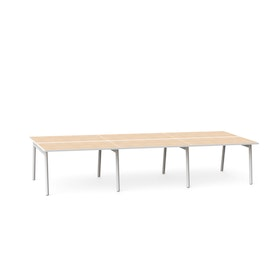 "Series A Double Desk for 6, Light Oak, 47"", White Legs,Light Oak,hi-res"