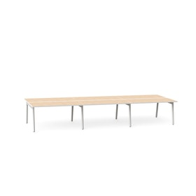 "Series A Double Desk for 6, Light Oak, 57"", White Legs,Light Oak,hi-res"