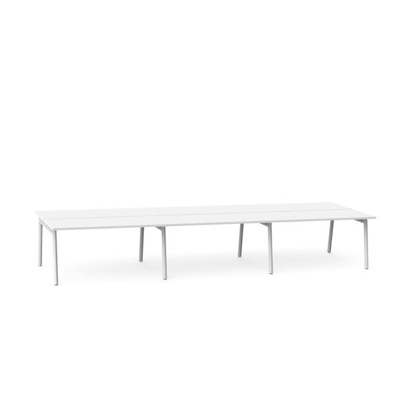 """Series A Double Desk for 6, White, 57"""", White Legs,White,hi-res"""