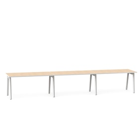 "Series A Single Desk for 3, Light Oak, 57"", White Legs,Light Oak,hi-res"