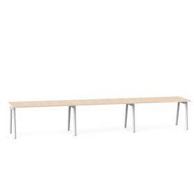 """Series A Single Desk for 3, Light Oak, 57"""", White Legs,Light Oak,hi-res"""