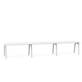 "Series A Single Desk for 3, White, 57"", White Legs,White,hi-res"