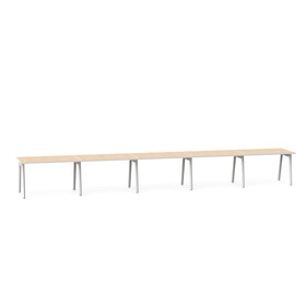 "Series A Single Desk for 5, Light Oak, 47"", White Legs,Light Oak,hi-res"