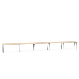 "Series A Single Desk for 5, Light Oak, 57"", White Legs,Light Oak,hi-res"