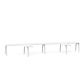 "Series A Single Desk for 4 with 2 Returns, White, 57"", White Legs,White,hi-res"