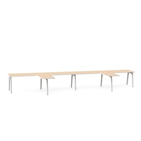 "Series A Single Desk for 4 with 2 Returns, Light Oak, 57"", White Legs,Light Oak,hi-res"