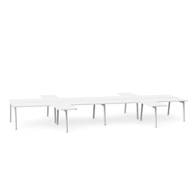 "White Series A Double Desk for 8 with 4 Returns, 57"" Tops,White,hi-res"
