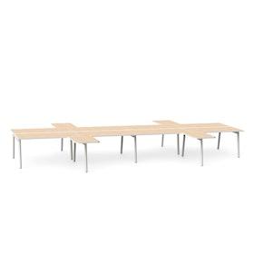 "White + Light Oak Series A Double Desk for 8 with 4 Returns, 57"" Tops,Light Oak,hi-res"