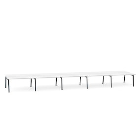 "Series A Double Desk for 10, White, 57"", Charcoal Legs,White,hi-res"