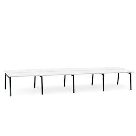 "Series A Double Desk for 8, White, 47"", Charcoal Legs,White,hi-res"