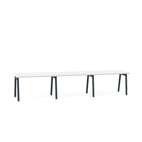 "Series A Single Desk for 3, White, 47"", Charcoal Legs,White,hi-res"