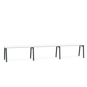 """Series A Single Desk for 3, White, 57"""", Charcoal Legs,White,hi-res"""