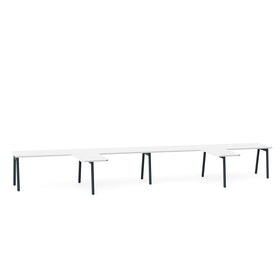 "Series A Single Desk for 4 with 2 Returns, White, 57"", Charcoal Legs,White,hi-res"